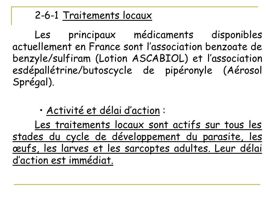 2-6-1 Traitements locaux Les principaux médicaments disponibles actuellement en France sont lassociation benzoate de benzyle/sulfiram (Lotion ASCABIOL