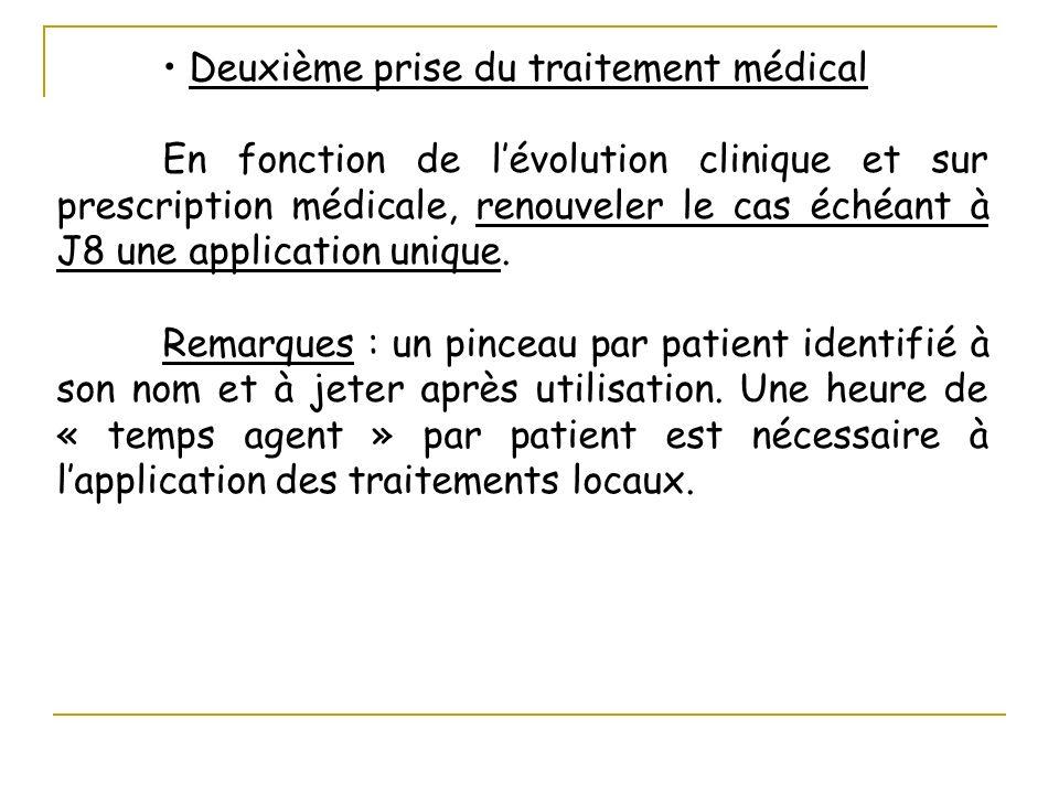 Deuxième prise du traitement médical En fonction de lévolution clinique et sur prescription médicale, renouveler le cas échéant à J8 une application u