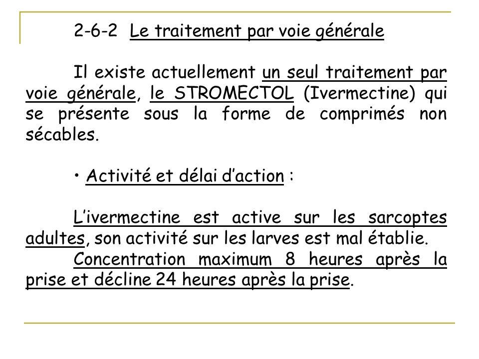 2-6-2 Le traitement par voie générale Il existe actuellement un seul traitement par voie générale, le STROMECTOL (Ivermectine) qui se présente sous la