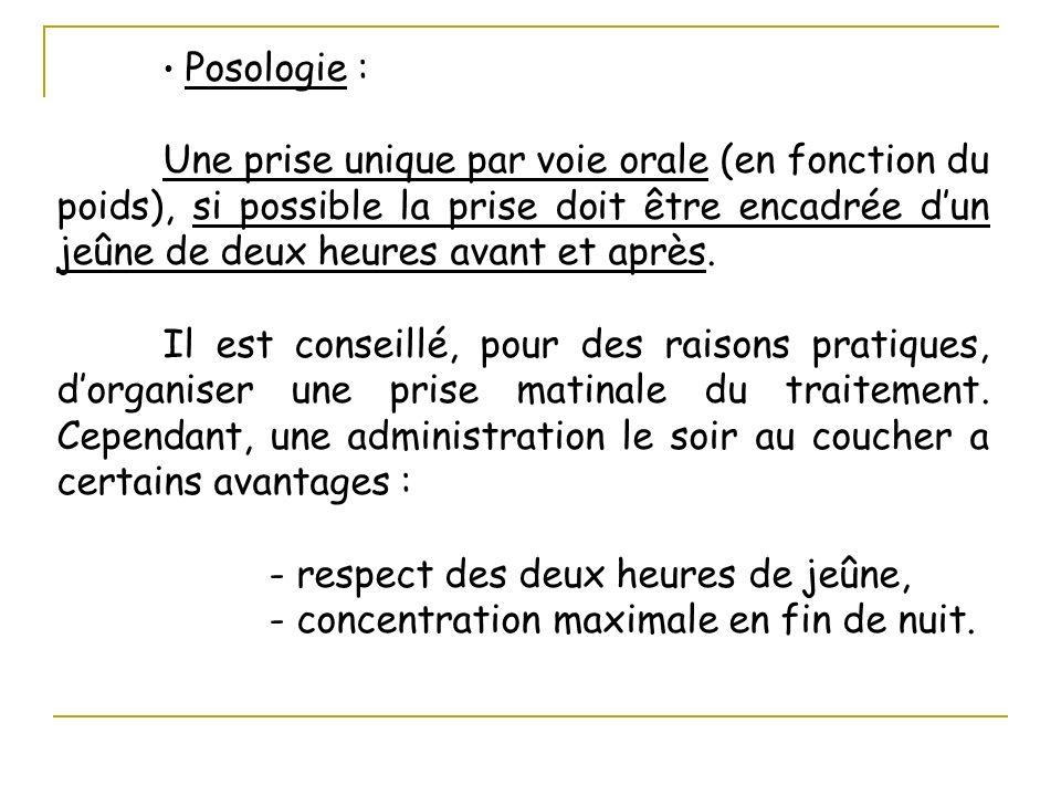 Posologie : Une prise unique par voie orale (en fonction du poids), si possible la prise doit être encadrée dun jeûne de deux heures avant et après. I
