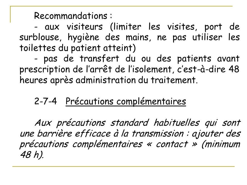 Recommandations : - aux visiteurs (limiter les visites, port de surblouse, hygiène des mains, ne pas utiliser les toilettes du patient atteint) - pas