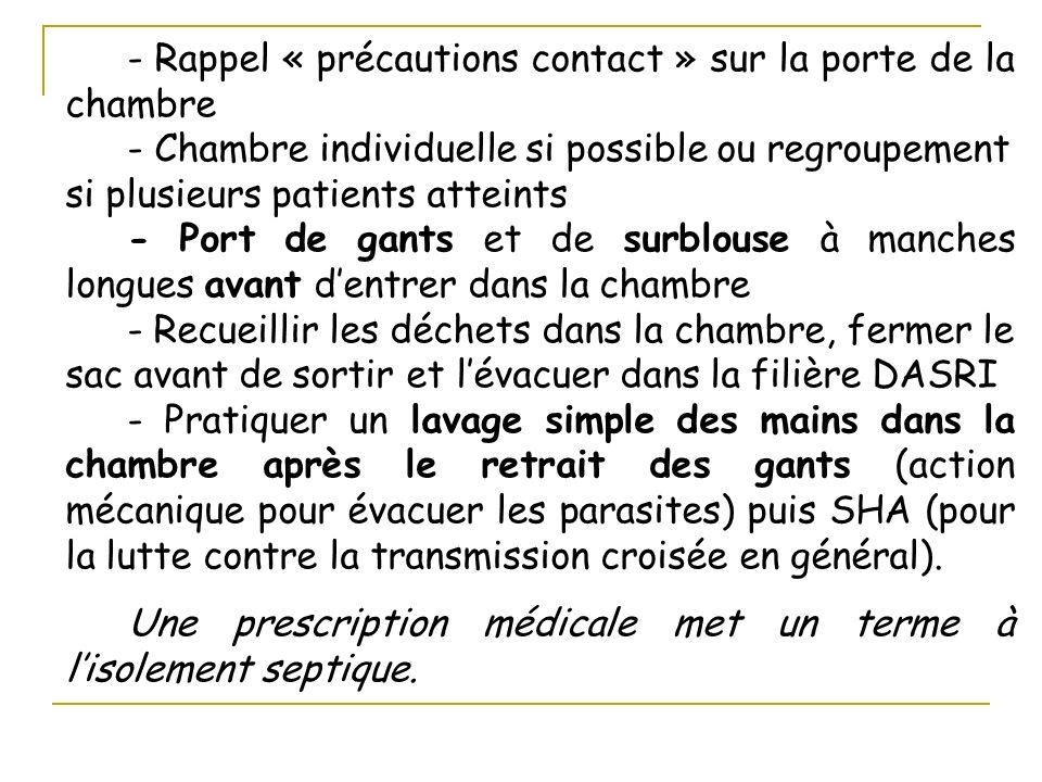 - Rappel « précautions contact » sur la porte de la chambre - Chambre individuelle si possible ou regroupement si plusieurs patients atteints - Port d