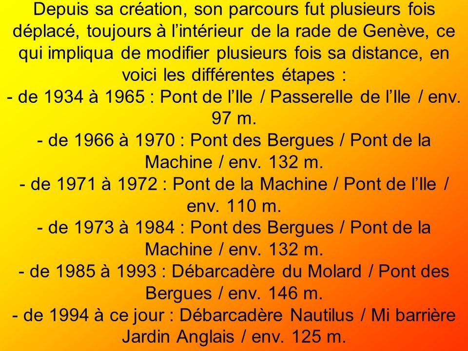 Depuis sa création, son parcours fut plusieurs fois déplacé, toujours à lintérieur de la rade de Genève, ce qui impliqua de modifier plusieurs fois sa