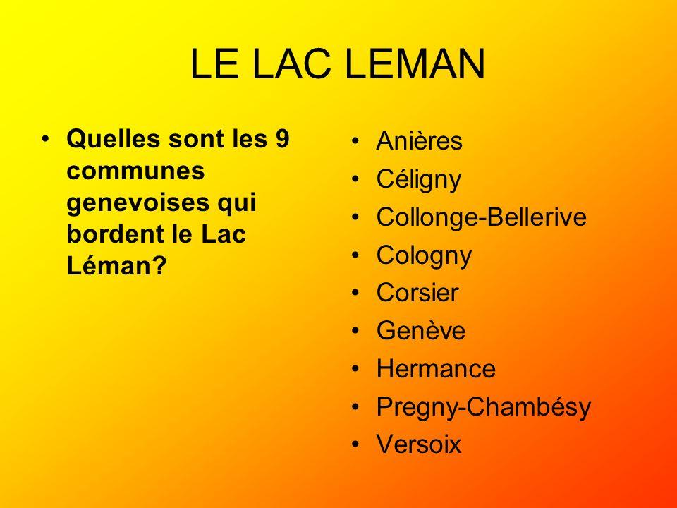 LE LAC LEMAN Quelles sont les 9 communes genevoises qui bordent le Lac Léman? Anières Céligny Collonge-Bellerive Cologny Corsier Genève Hermance Pregn
