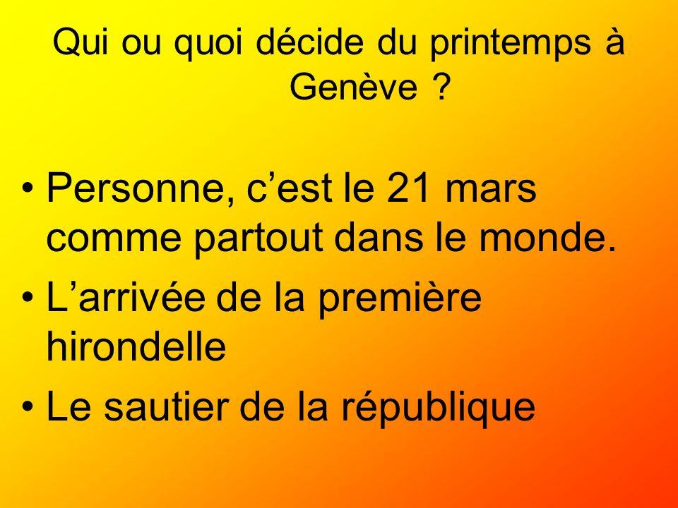 Qui ou quoi décide du printemps à Genève ? Personne, cest le 21 mars comme partout dans le monde. Larrivée de la première hirondelle Le sautier de la