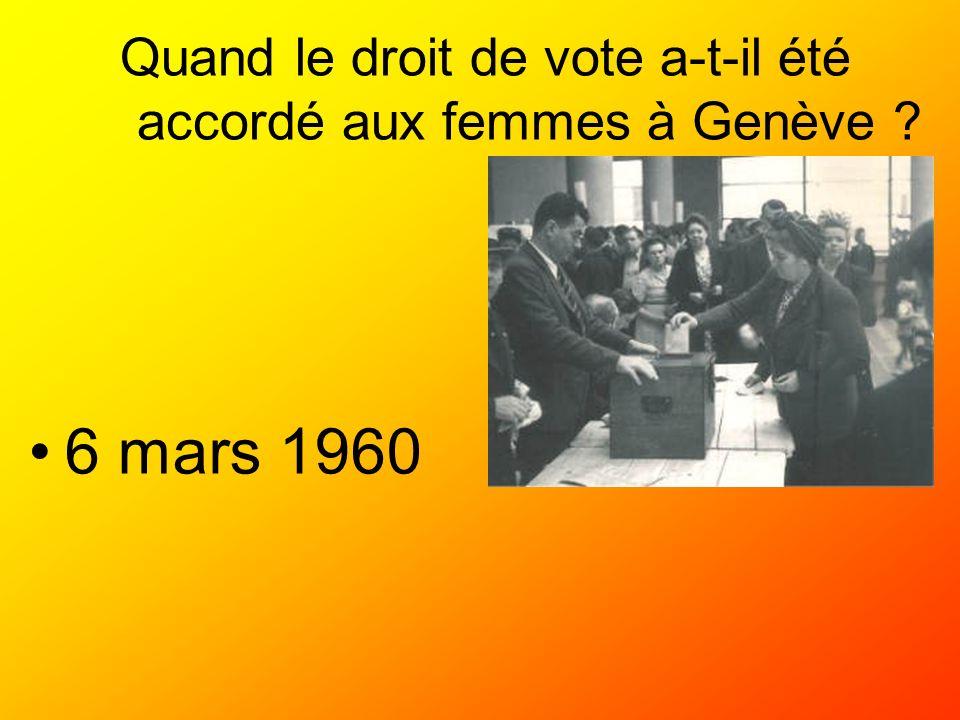 Quand le droit de vote a-t-il été accordé aux femmes à Genève ? 6 mars 1960