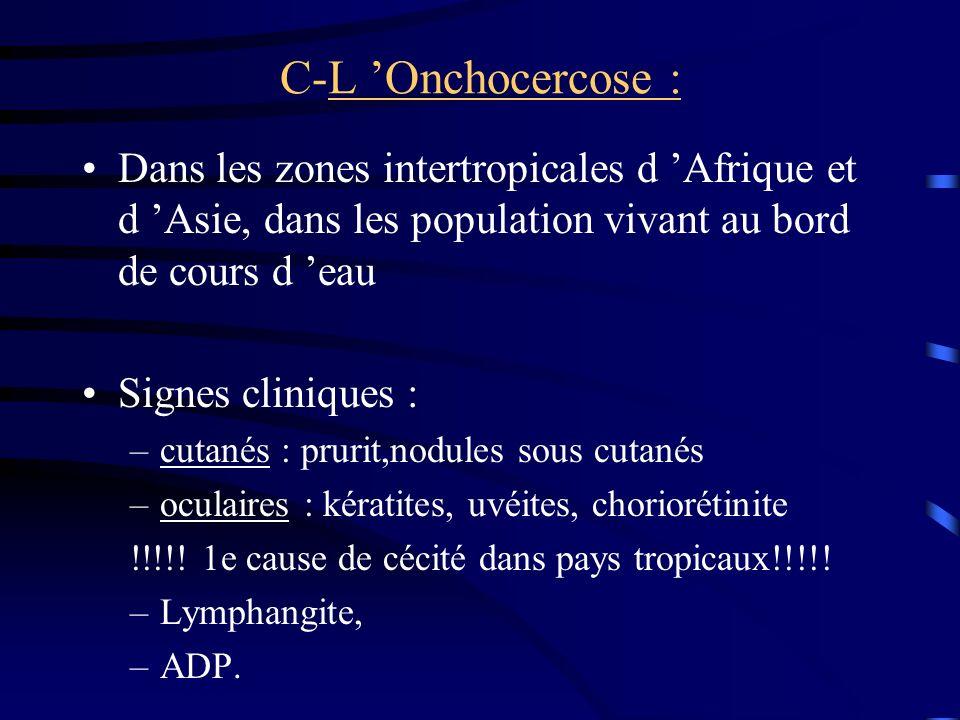 C-L Onchocercose : Dans les zones intertropicales d Afrique et d Asie, dans les population vivant au bord de cours d eau Signes cliniques : –cutanés :