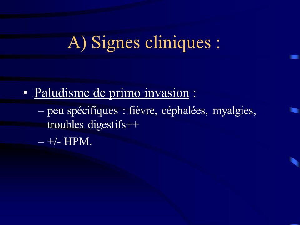 A) Signes cliniques : Paludisme de primo invasion : –peu spécifiques : fièvre, céphalées, myalgies, troubles digestifs++ –+/- HPM.