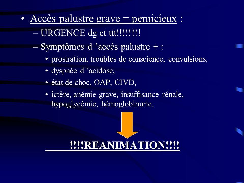 Accès palustre grave = pernicieux : –URGENCE dg et ttt!!!!!!!! –Symptômes d accès palustre + : prostration, troubles de conscience, convulsions, dyspn