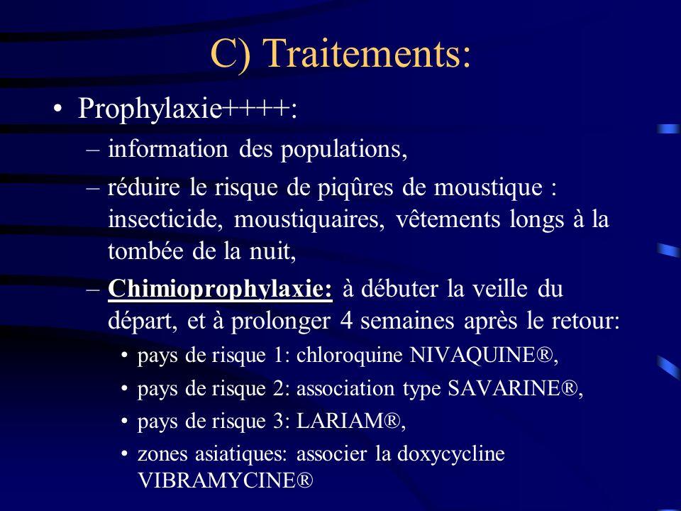 C) Traitements: Prophylaxie++++: –information des populations, –réduire le risque de piqûres de moustique : insecticide, moustiquaires, vêtements long
