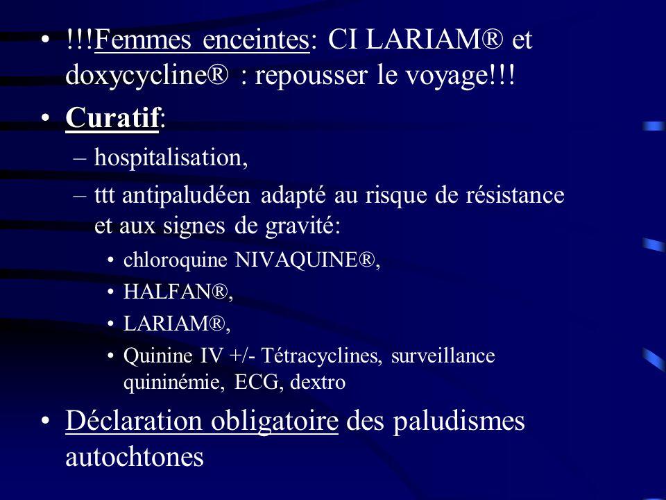 !!!Femmes enceintes: CI LARIAM® et doxycycline® : repousser le voyage!!! CuratifCuratif: –hospitalisation, –ttt antipaludéen adapté au risque de résis