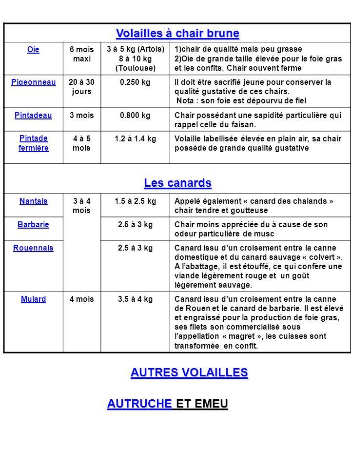 Volailles à chair brune Oie6 mois maxi 3 à 5 kg (Artois) 8 à 10 kg (Toulouse) 1)chair de qualité mais peu grasse 2)Oie de grande taille élevée pour le