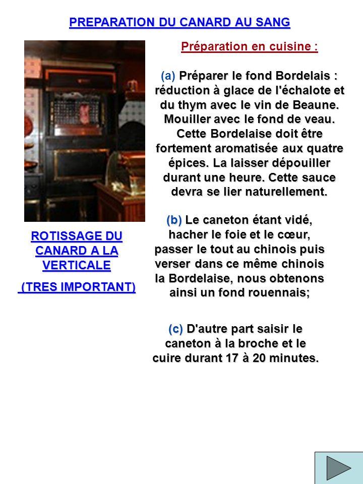 PREPARATION DU CANARD AU SANG ROTISSAGE DU CANARD A LA VERTICALE (TRES IMPORTANT) (TRES IMPORTANT) Préparation en cuisine : Préparer le fond Bordelais