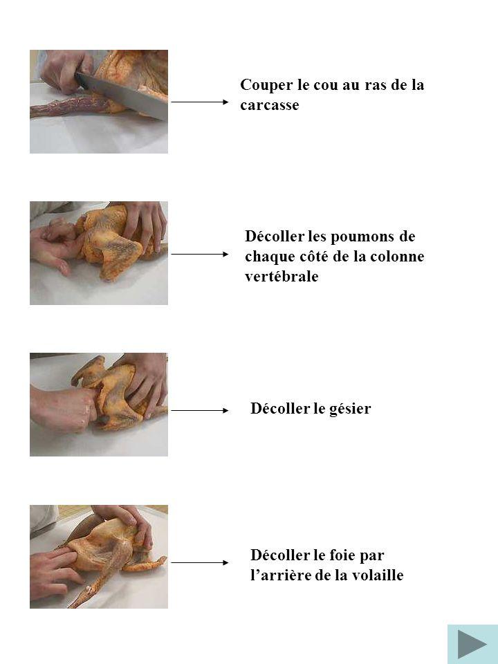 Couper le cou au ras de la carcasse Décoller les poumons de chaque côté de la colonne vertébrale Décoller le gésier Décoller le foie par larrière de l