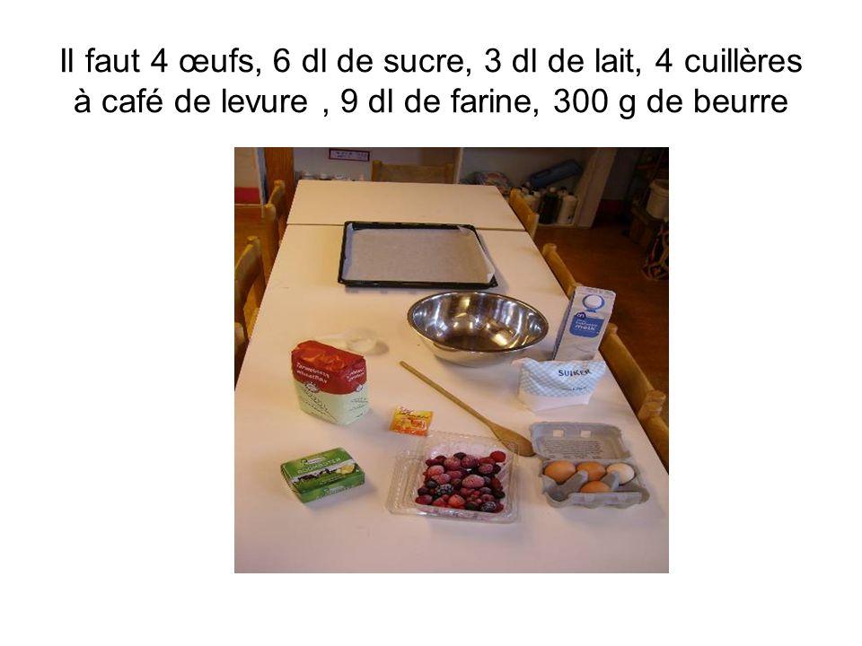 Il faut 4 œufs, 6 dl de sucre, 3 dl de lait, 4 cuillères à café de levure, 9 dl de farine, 300 g de beurre