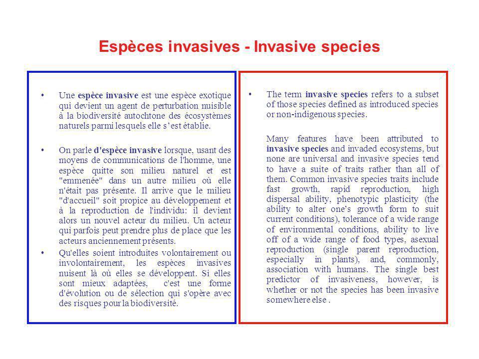 Espèces invasives - Invasive species Une espèce invasive est une espèce exotique qui devient un agent de perturbation nuisible à la biodiversité autoc