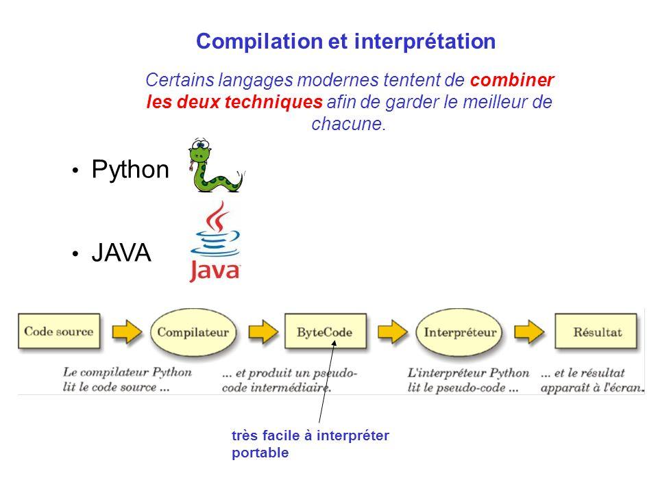 Certains langages modernes tentent de combiner les deux techniques afin de garder le meilleur de chacune. Python JAVA très facile à interpréter portab
