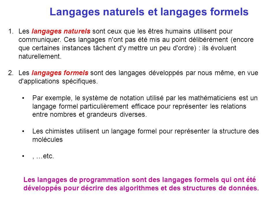 Langages naturels et langages formels 1.Les langages naturels sont ceux que les êtres humains utilisent pour communiquer. Ces langages n'ont pas été m