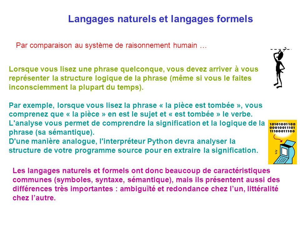 Langages naturels et langages formels Lorsque vous lisez une phrase quelconque, vous devez arriver à vous représenter la structure logique de la phras