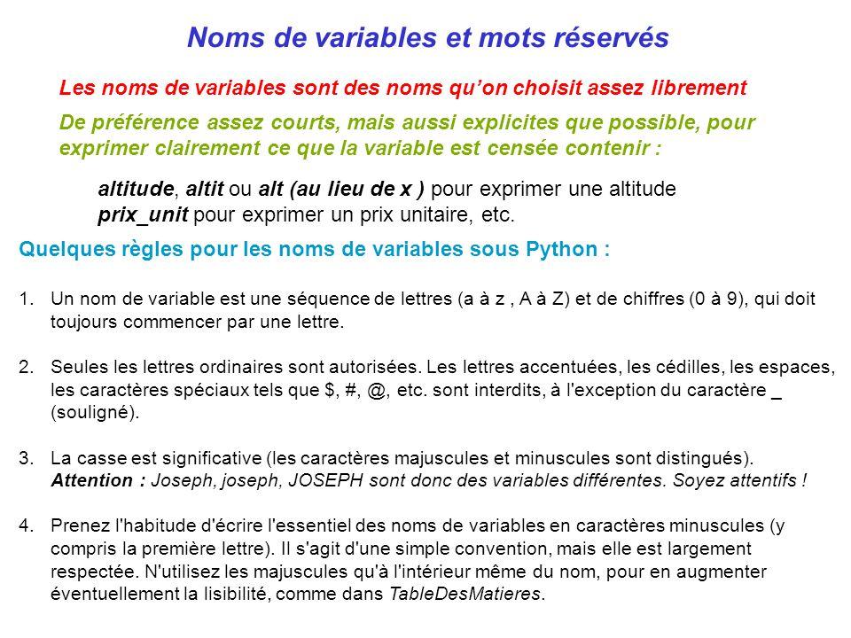 Noms de variables et mots réservés Les noms de variables sont des noms quon choisit assez librement De préférence assez courts, mais aussi explicites