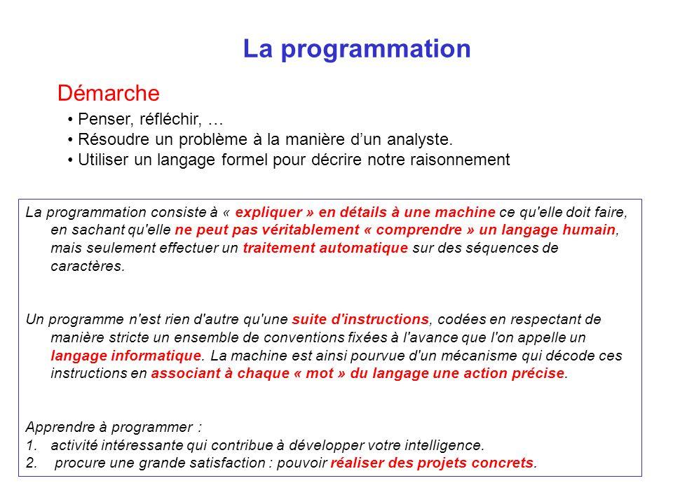 La programmation Démarche Penser, réfléchir, … Résoudre un problème à la manière dun analyste. Utiliser un langage formel pour décrire notre raisonnem