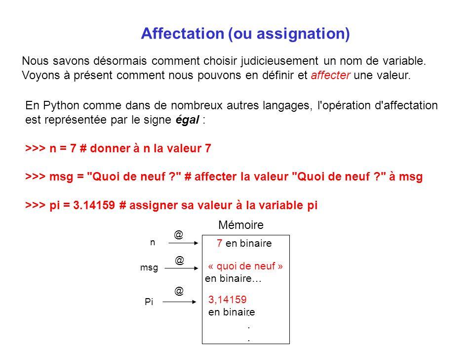 Affectation (ou assignation) Nous savons désormais comment choisir judicieusement un nom de variable. Voyons à présent comment nous pouvons en définir