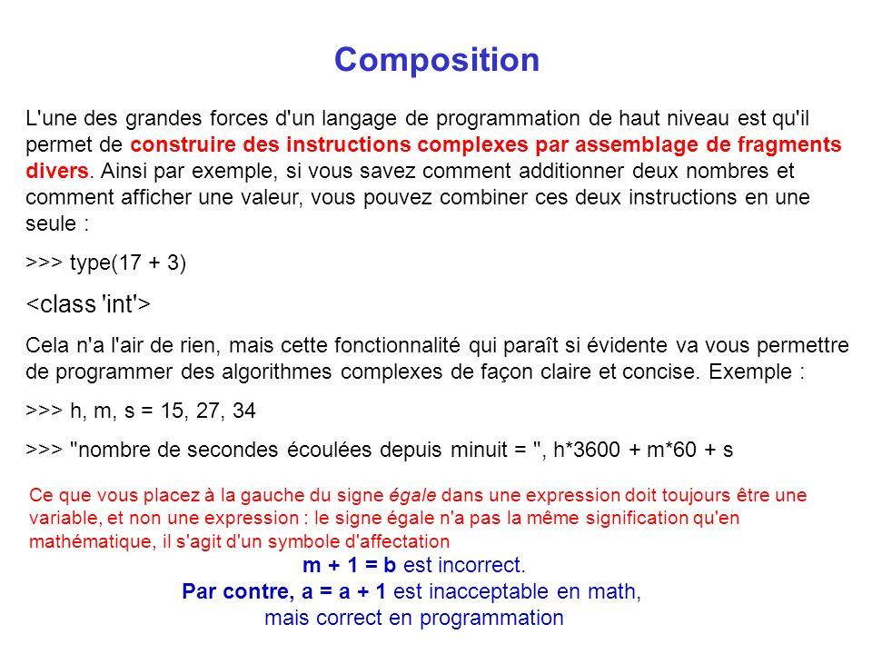 Composition L'une des grandes forces d'un langage de programmation de haut niveau est qu'il permet de construire des instructions complexes par assemb