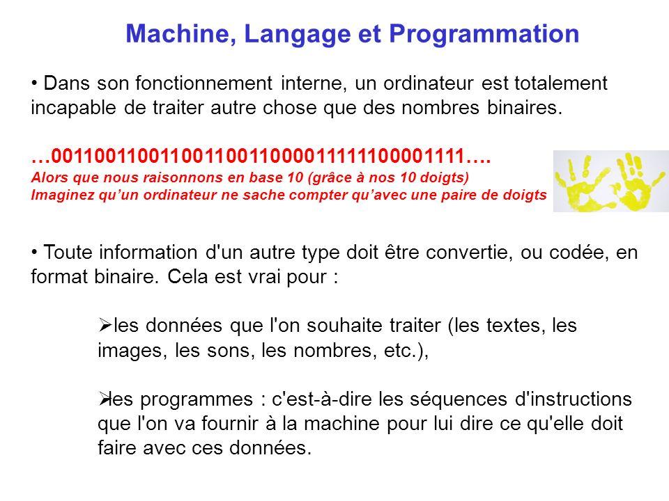 Machine, Langage et Programmation Dans son fonctionnement interne, un ordinateur est totalement incapable de traiter autre chose que des nombres binai
