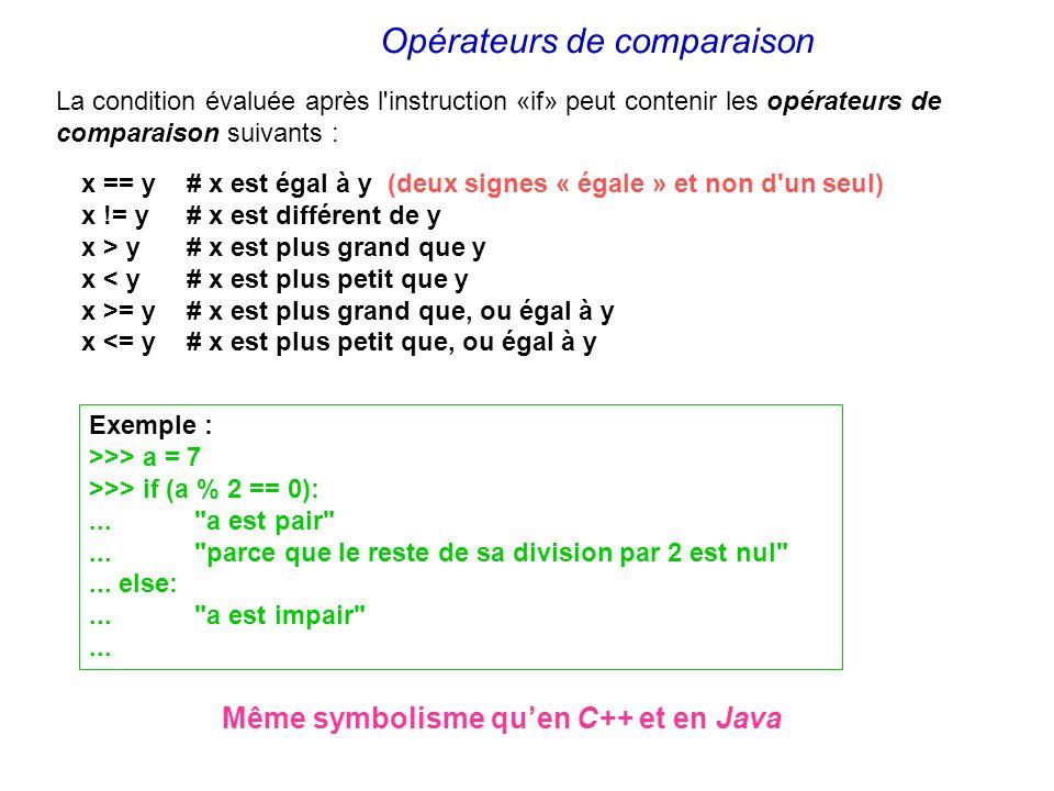 x == y # x est égal à y (deux signes « égale » et non d'un seul) x != y # x est différent de y x > y # x est plus grand que y x < y # x est plus petit