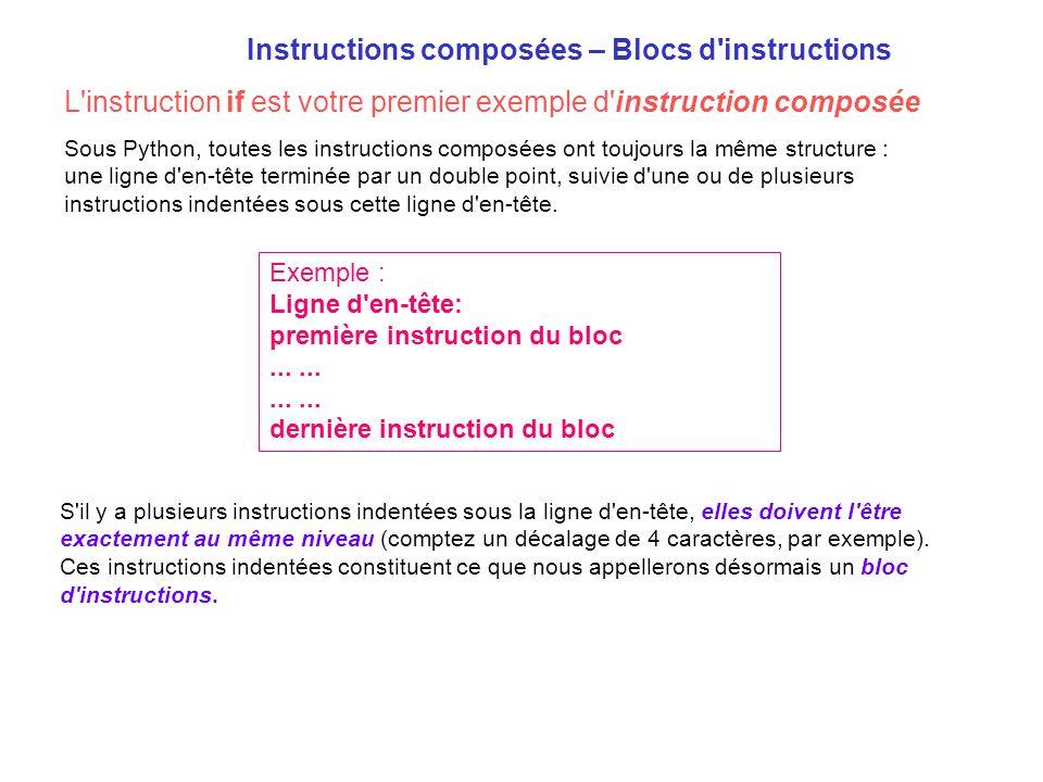 Instructions composées – Blocs d'instructions S'il y a plusieurs instructions indentées sous la ligne d'en-tête, elles doivent l'être exactement au mê