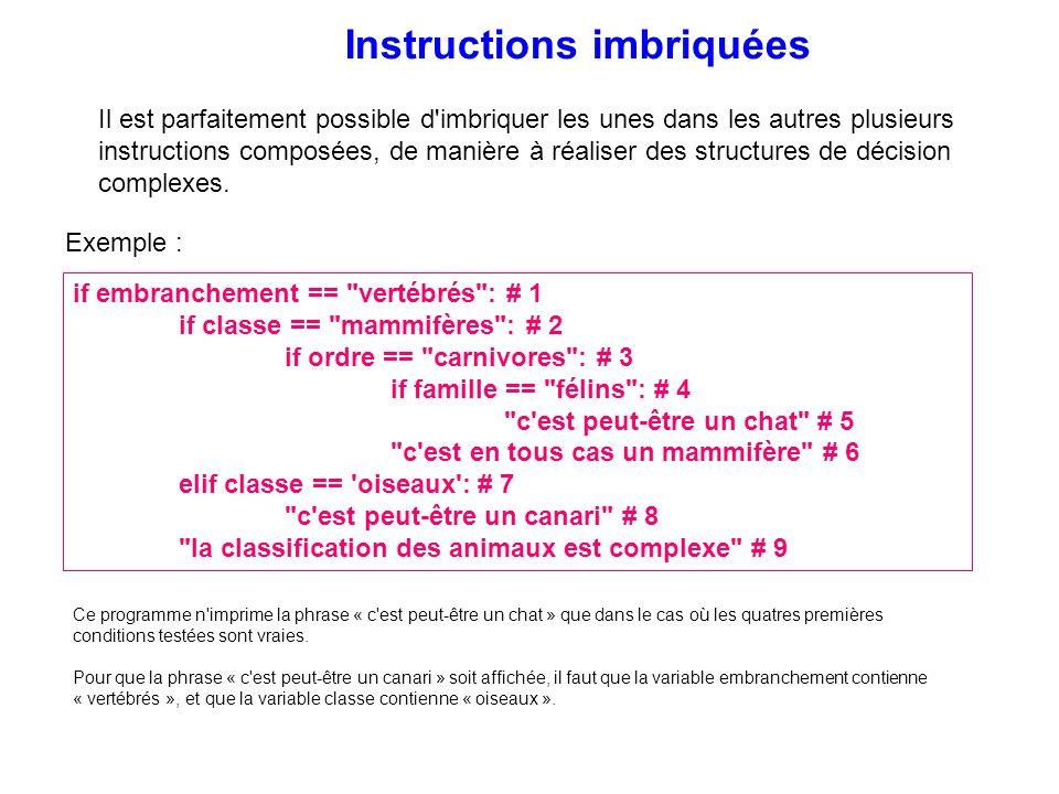 Il est parfaitement possible d'imbriquer les unes dans les autres plusieurs instructions composées, de manière à réaliser des structures de décision c
