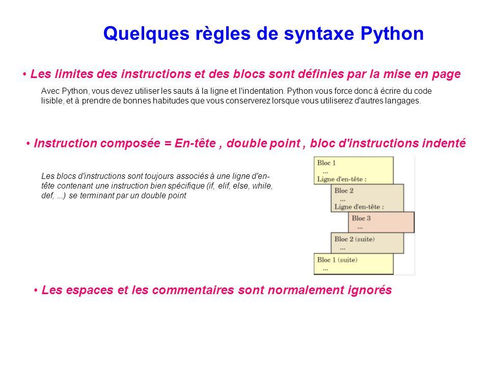 Quelques règles de syntaxe Python Les limites des instructions et des blocs sont définies par la mise en page Avec Python, vous devez utiliser les sau