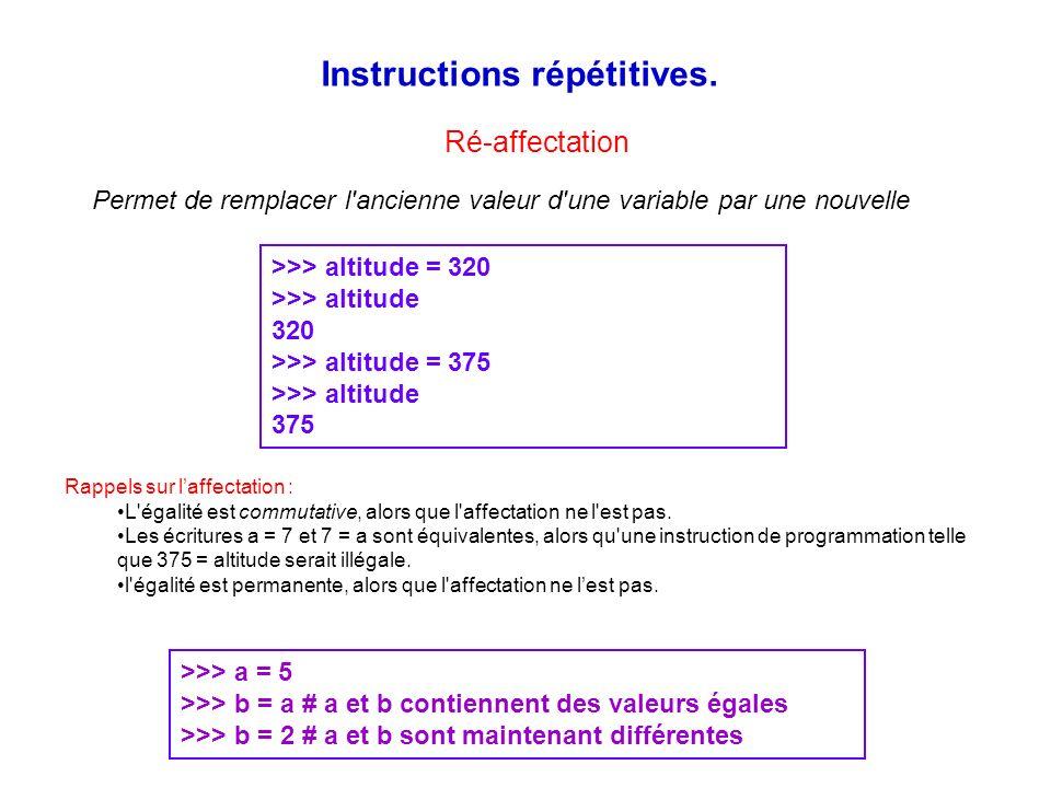 Instructions répétitives. >>> altitude = 320 >>> altitude 320 >>> altitude = 375 >>> altitude 375 Permet de remplacer l'ancienne valeur d'une variable