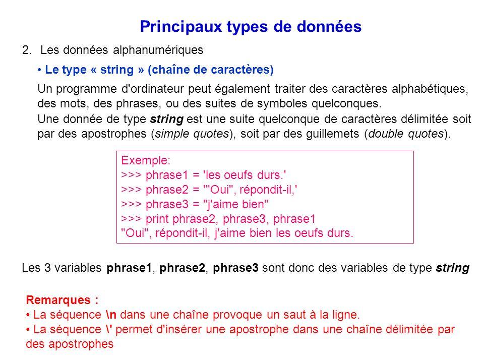 2.Les données alphanumériques Principaux types de données Le type « string » (chaîne de caractères) Un programme d'ordinateur peut également traiter d
