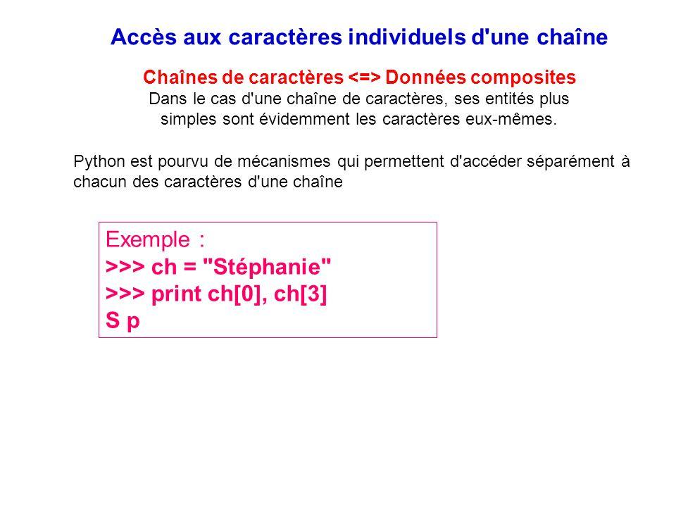Accès aux caractères individuels d'une chaîne Chaînes de caractères Données composites Dans le cas d'une chaîne de caractères, ses entités plus simple