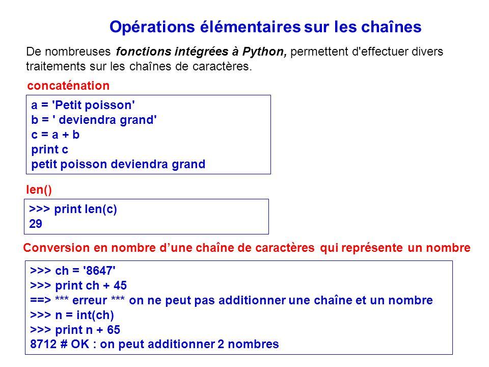 Opérations élémentaires sur les chaînes De nombreuses fonctions intégrées à Python, permettent d'effectuer divers traitements sur les chaînes de carac