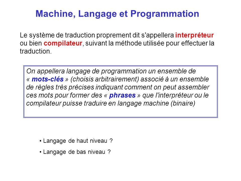 Le système de traduction proprement dit s'appellera interpréteur ou bien compilateur, suivant la méthode utilisée pour effectuer la traduction. Machin