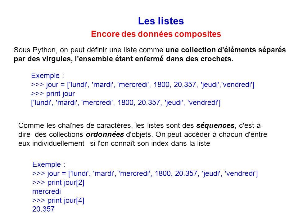 Les listes Encore des données composites Sous Python, on peut définir une liste comme une collection d'éléments séparés par des virgules, l'ensemble é