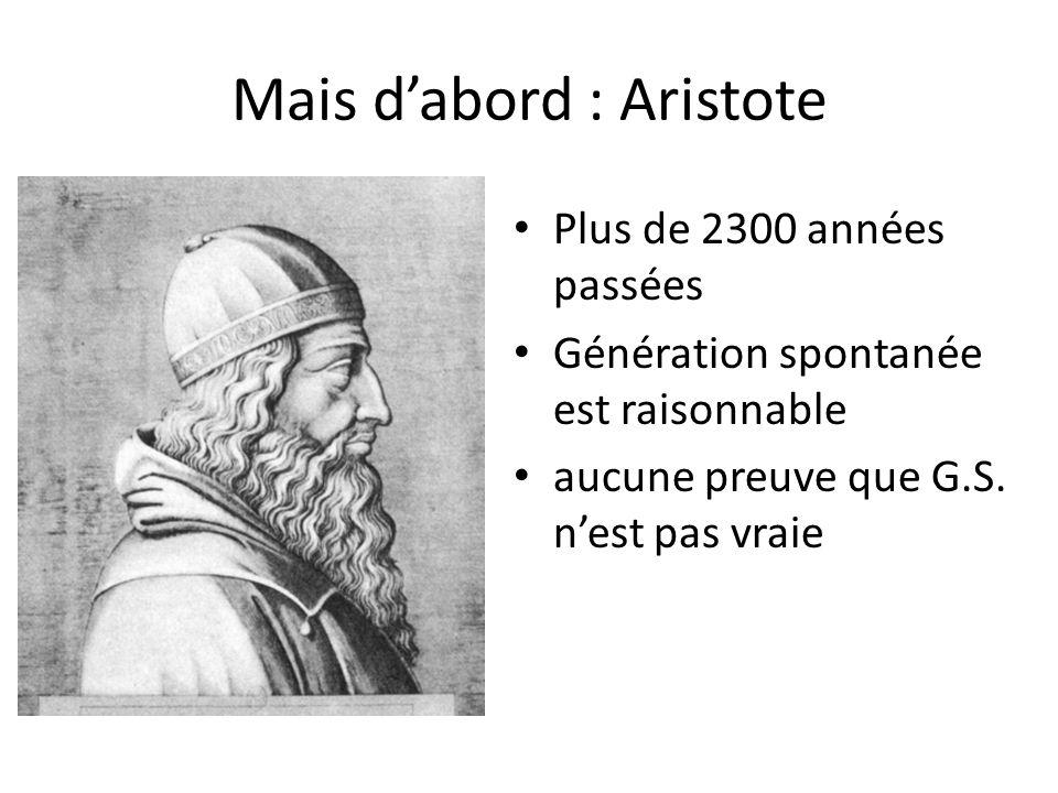 Mais dabord : Aristote Plus de 2300 années passées Génération spontanée est raisonnable aucune preuve que G.S. nest pas vraie