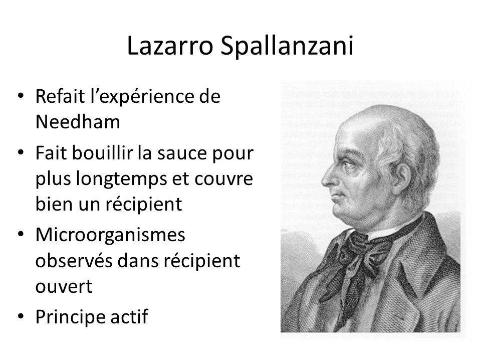 Lazarro Spallanzani Refait lexpérience de Needham Fait bouillir la sauce pour plus longtemps et couvre bien un récipient Microorganismes observés dans