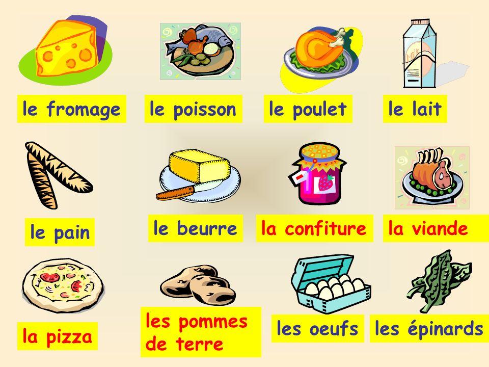 le fromagele poissonle pouletle lait le pain le beurrela confiturela viande la pizza les pommes de terre les oeufsles épinards