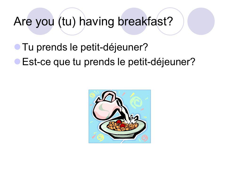 Are you (tu) having breakfast? Tu prends le petit-déjeuner? Est-ce que tu prends le petit-déjeuner?