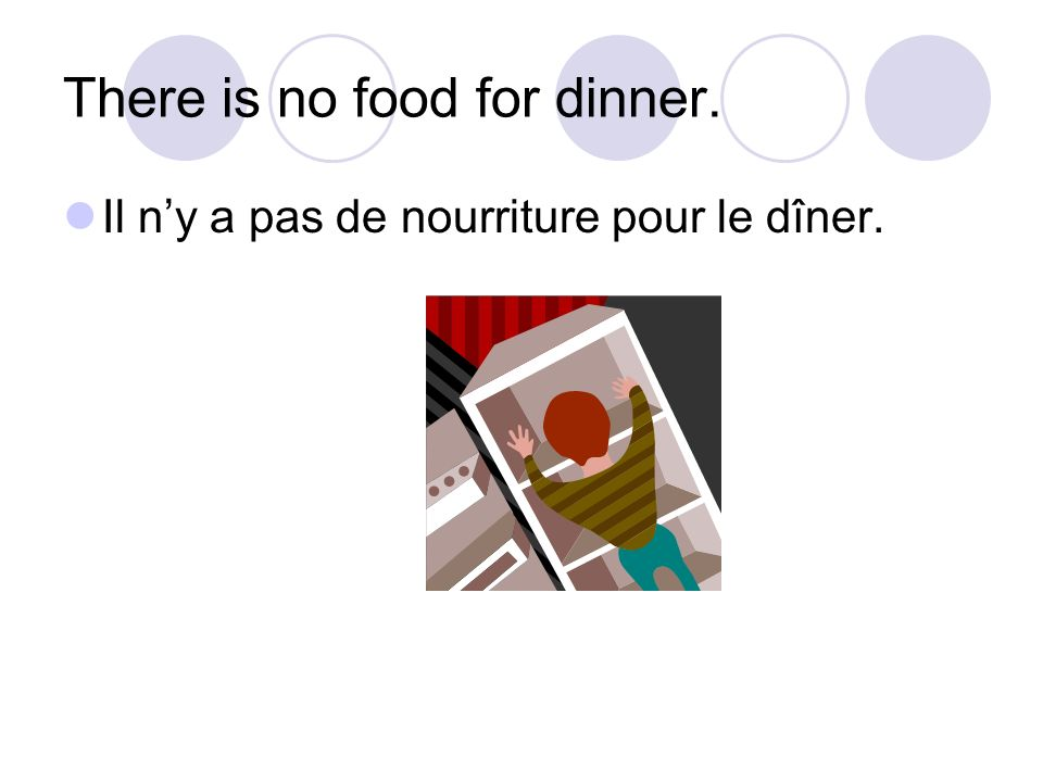 There is no food for dinner. Il ny a pas de nourriture pour le dîner.