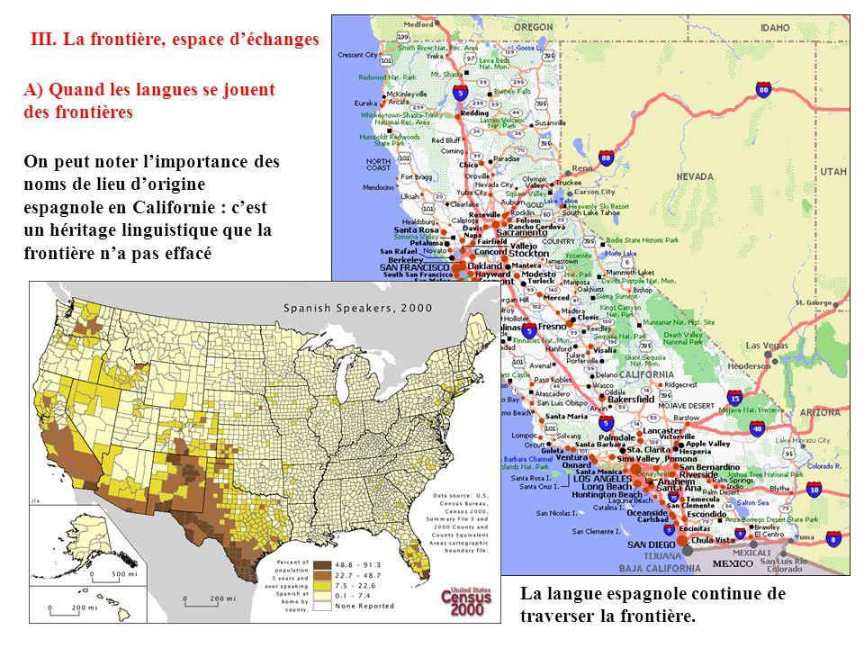 C) Dans les niveaux de développement La frontière américano-mexicaine marque une discontinuité entre un Nord et un Sud, en termes de PNB et dIDH.