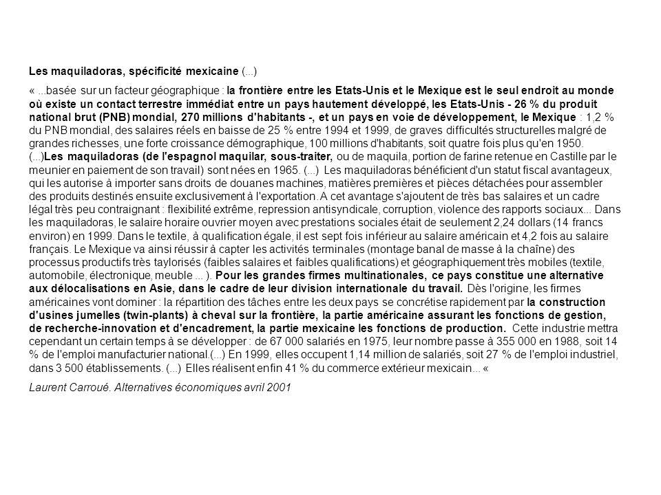 B) La frontière : un espace de développement économique Source : La Jornada, 23/12/2003