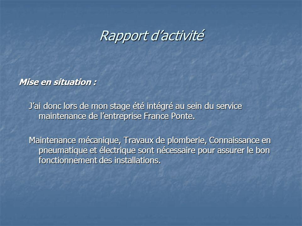 Rapport dactivité Mise en situation : Jai donc lors de mon stage été intégré au sein du service maintenance de lentreprise France Ponte. Jai donc lors