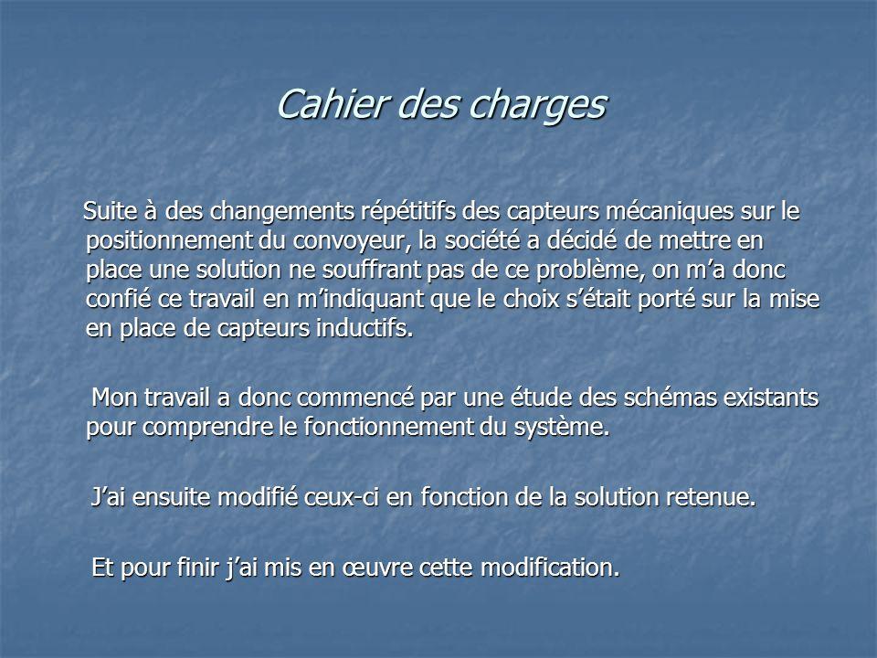 Cahier des charges Suite à des changements répétitifs des capteurs mécaniques sur le positionnement du convoyeur, la société a décidé de mettre en pla