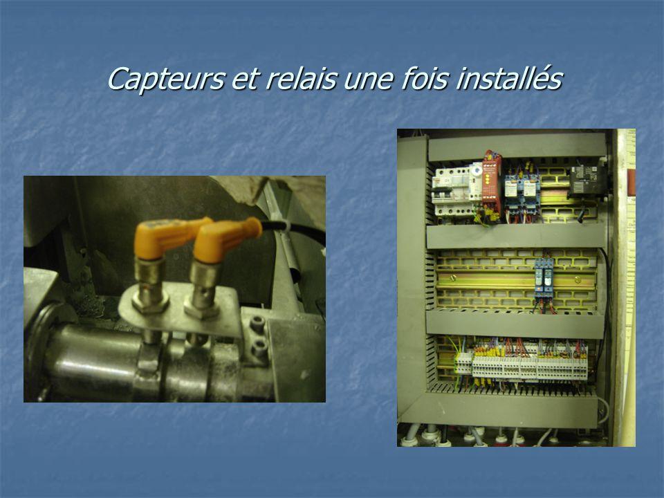 Capteurs et relais une fois installés