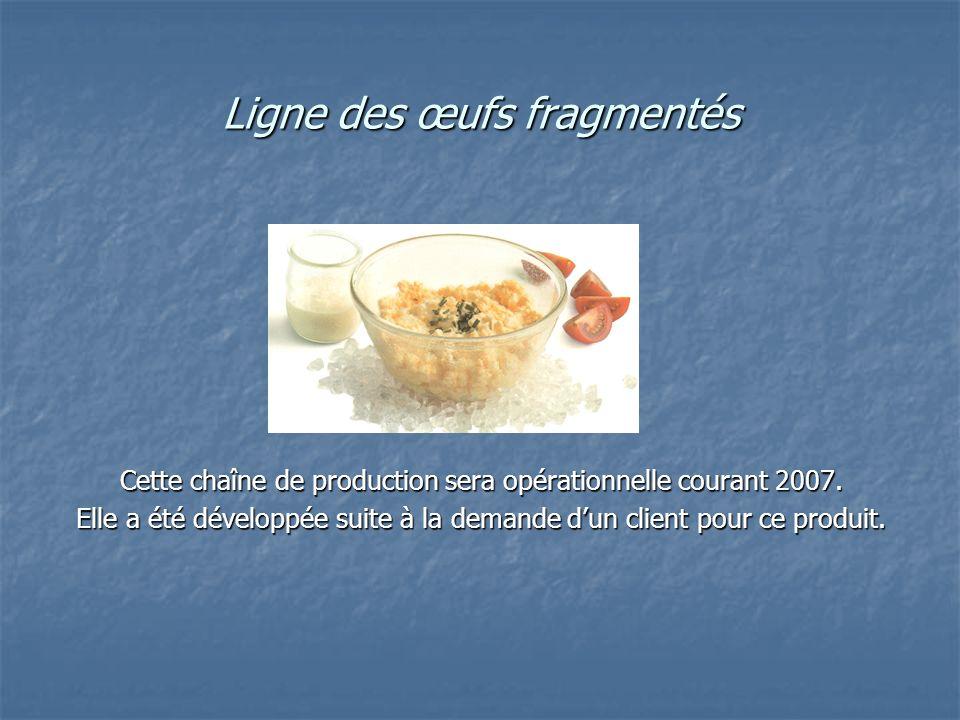 Ligne des œufs fragmentés Cette chaîne de production sera opérationnelle courant 2007. Elle a été développée suite à la demande dun client pour ce pro