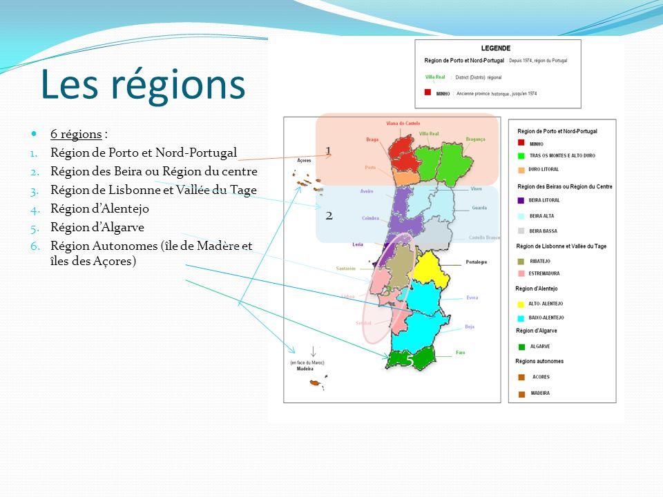 Les régions 6 régions : 1. Région de Porto et Nord-Portugal 2. Région des Beira ou Région du centre 3. Région de Lisbonne et Vallée du Tage 4. Région